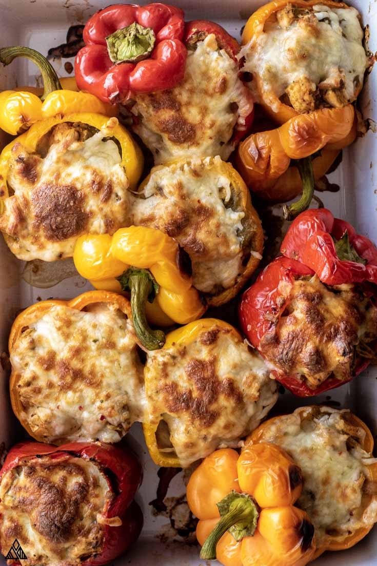 casserole dish full of stuffed peppers without rice