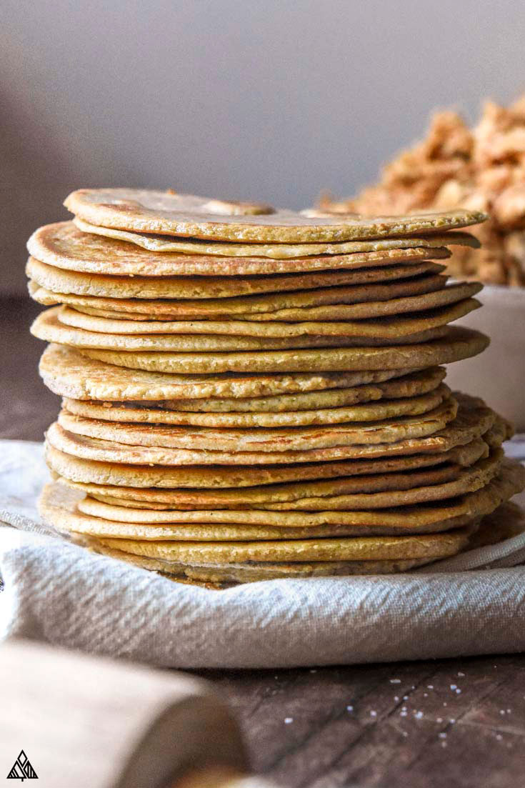 Stack of super pliable almond flour tortillas