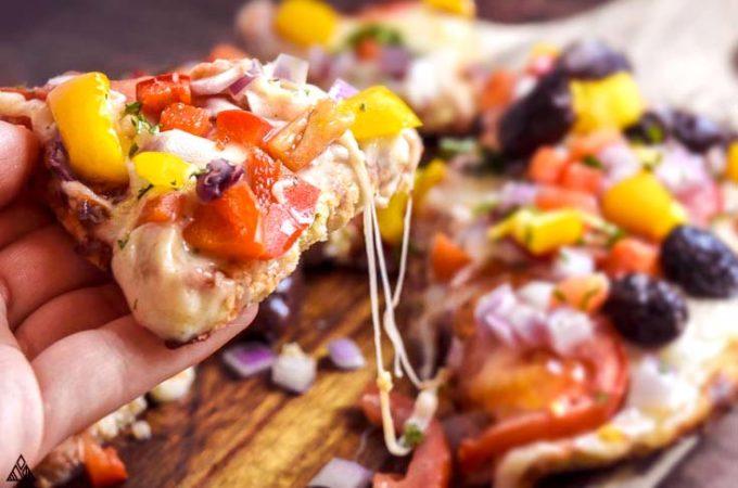 cheesy slice of cauliflower pizza