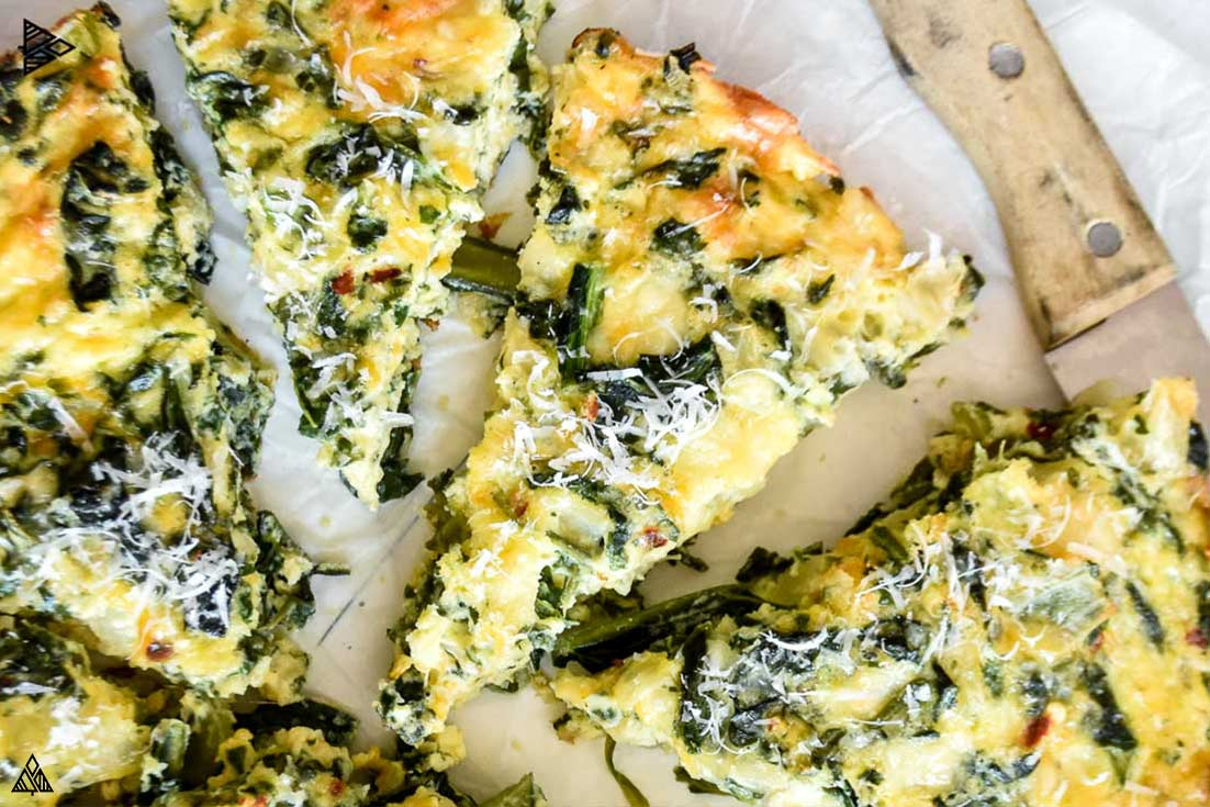 closer look of crustless spinach quiche