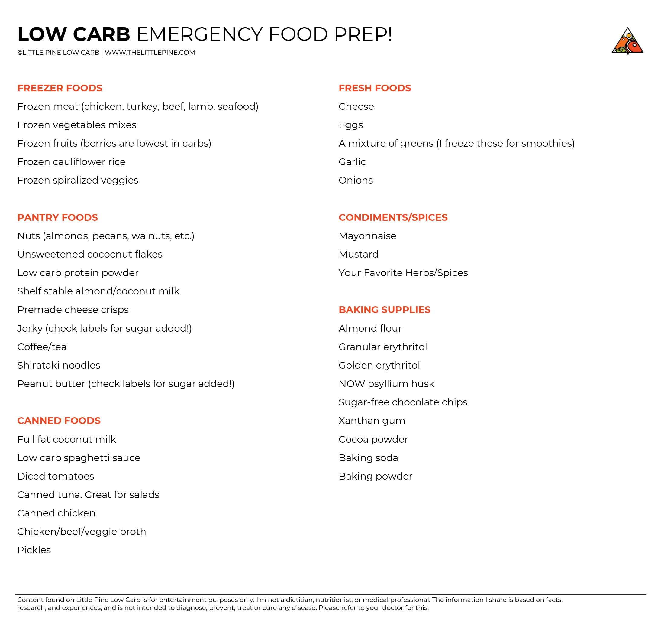 Emergency-Food-Prep shopping list