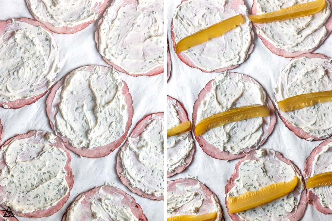 Cream cheese and pickles into each piece of ham