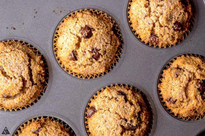 keto banana muffins in a pan