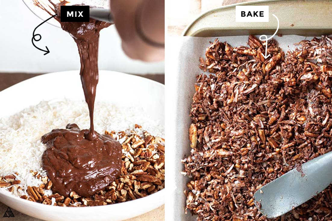 Process of making low carb chocolate granola