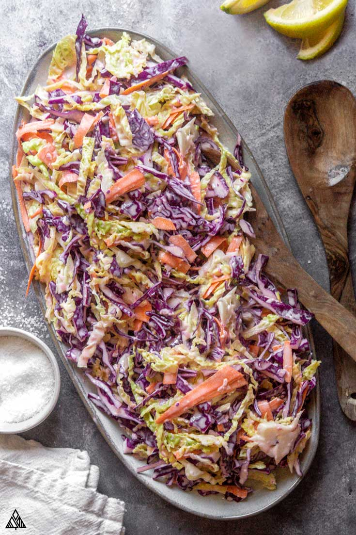 Top view of low carb coleslaw in a plate