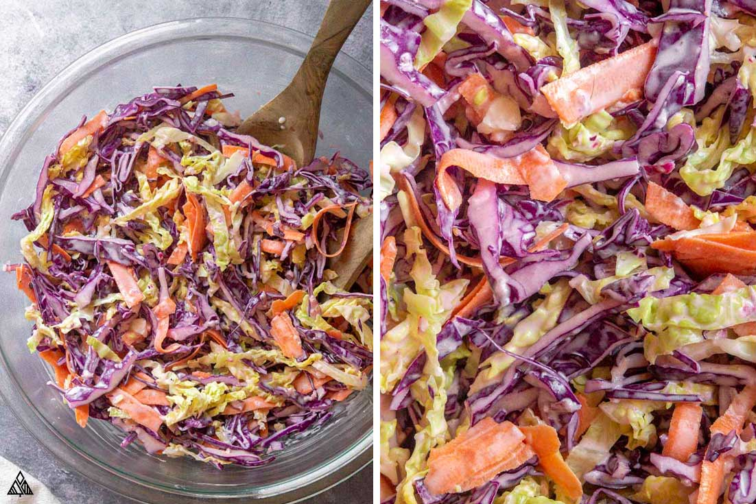 Collage of low carb coleslaw and shredded veggies