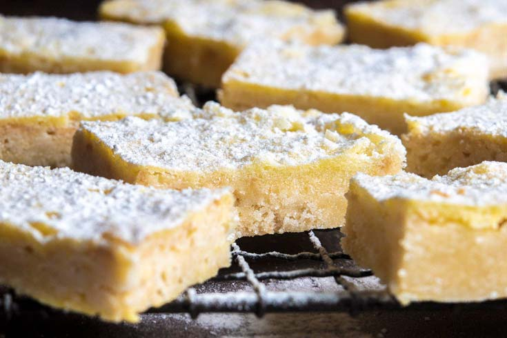 front view of low carb lemon bars