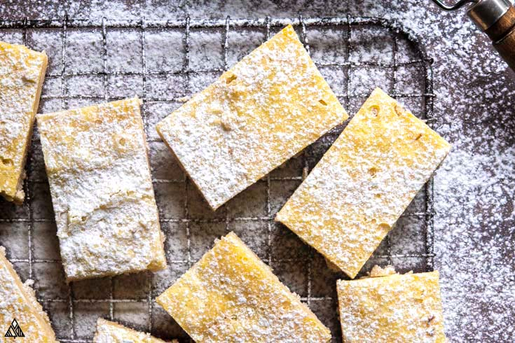 closeup of low carb lemon bars
