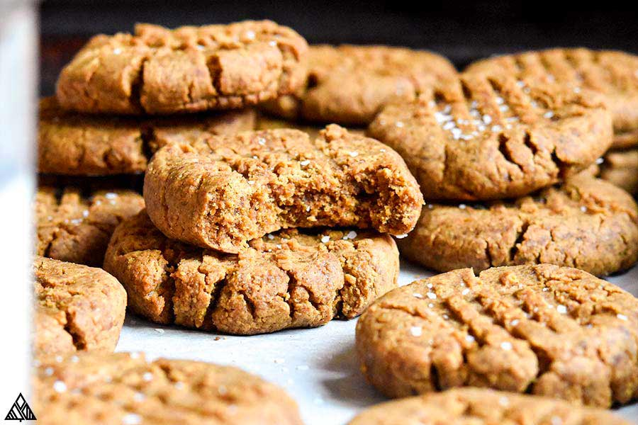 closer look of low carb peanut butter cookies