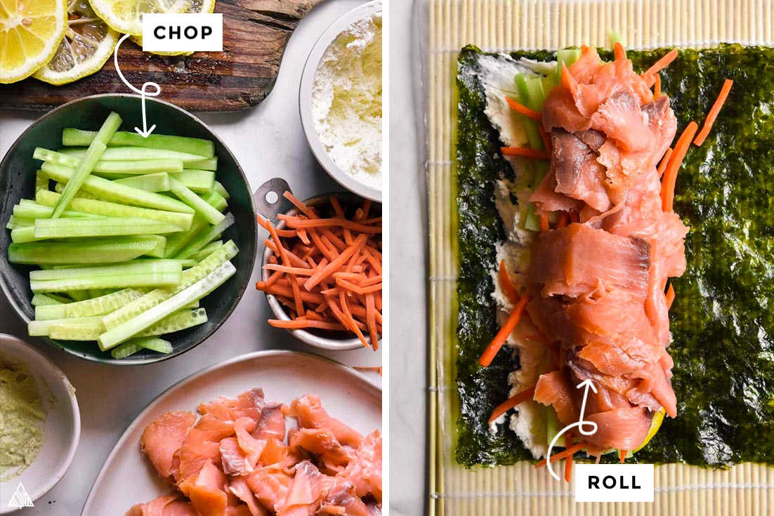 Collage of how to prepare low carb sushi