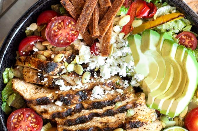 Top view of low carb taco salad