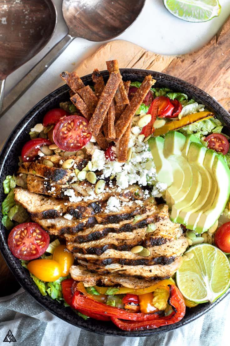 Top view of low carb taco salad
