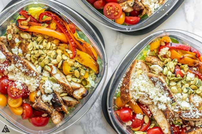3 lunch boxes of low carb taco salad