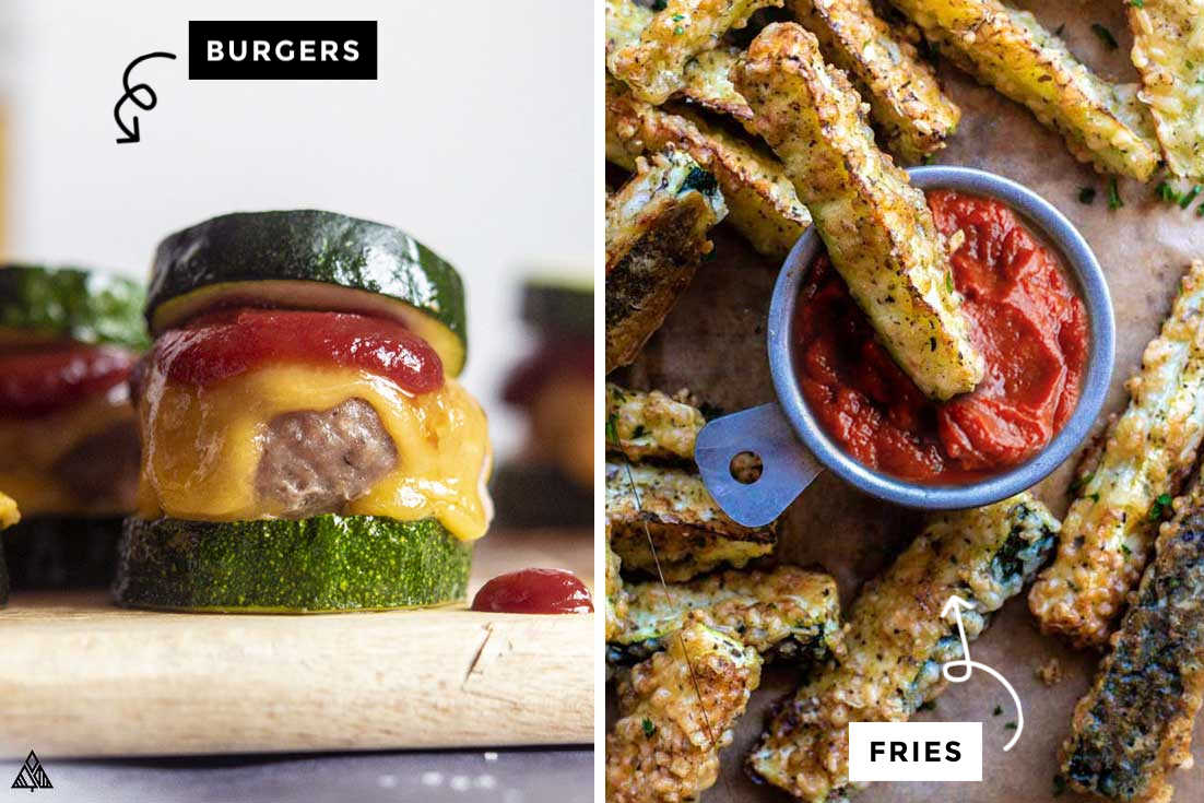 Collage of burgers and fries that uses low carb ketchup