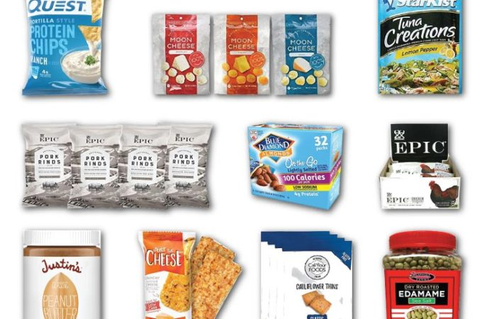 Montage of savory low carb snacks you can buy on Amazon