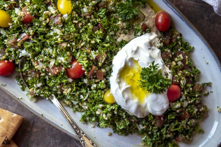 Closer look of tabouleh with egg