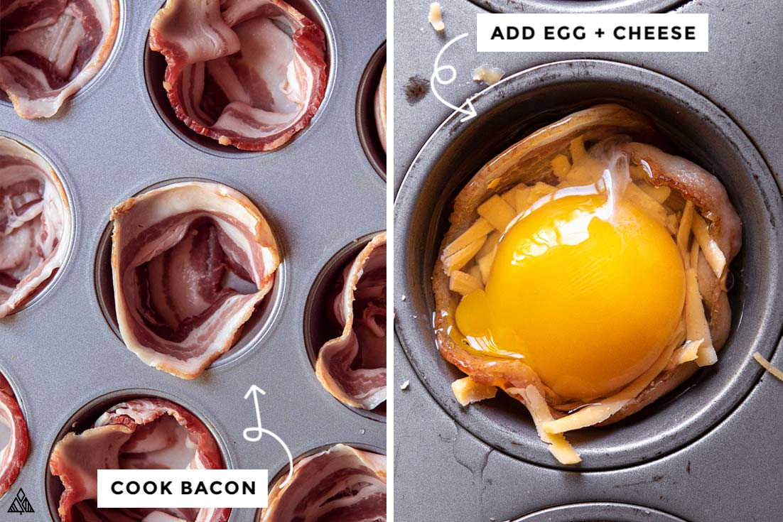 A collage of muffin tin with bacon, cheese and eggs