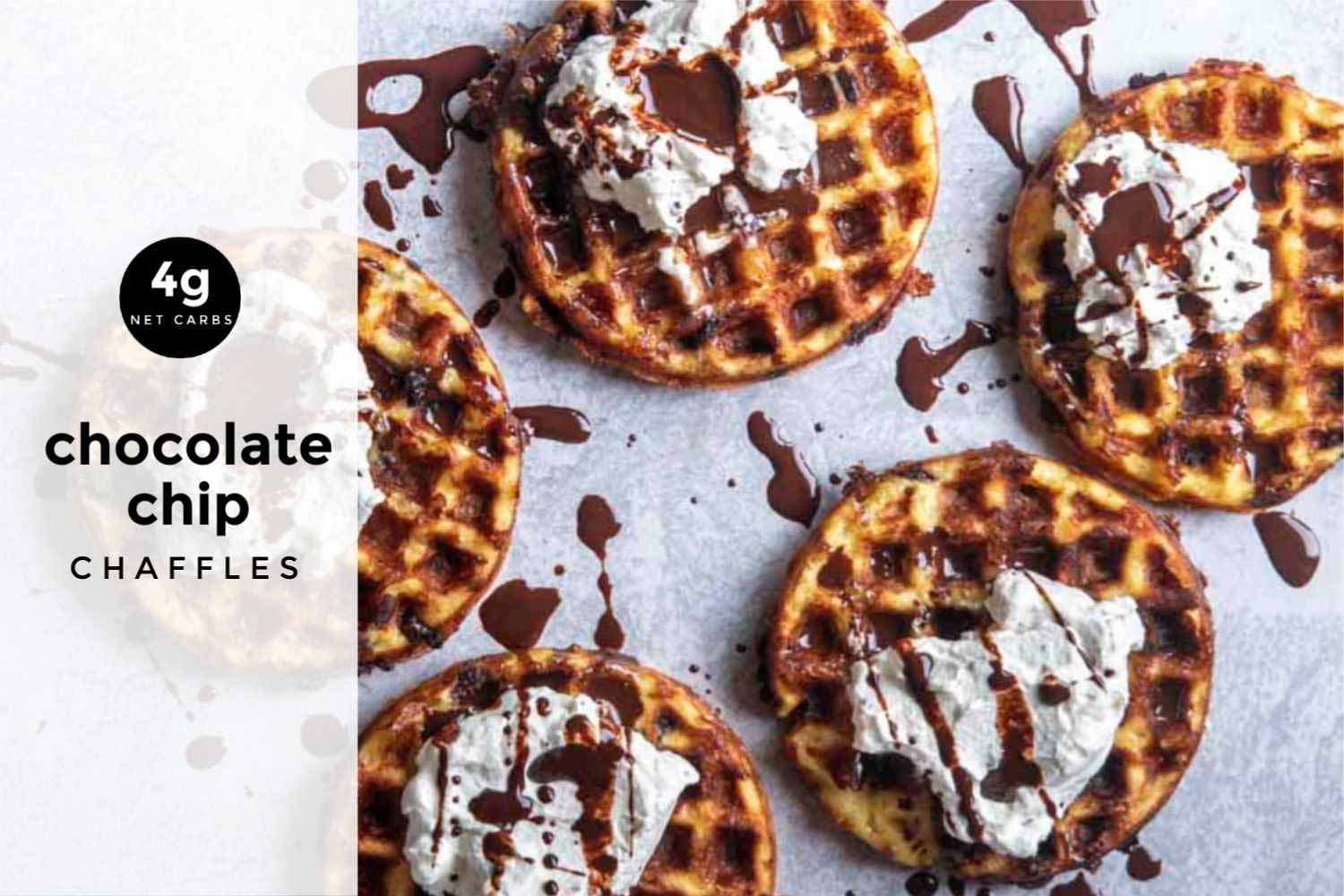 A graphic of chocolate chip chaffles