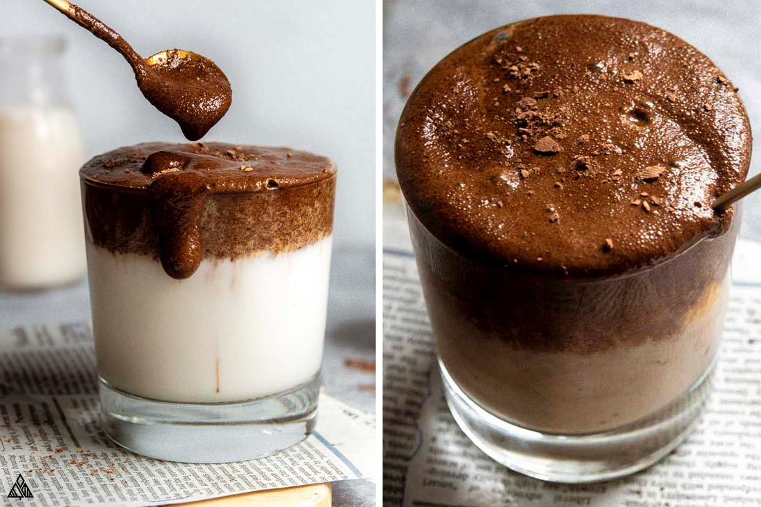 A collage of dalgona coffee in a glass