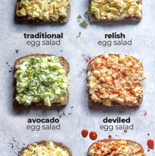 image with 6 egg salad variations