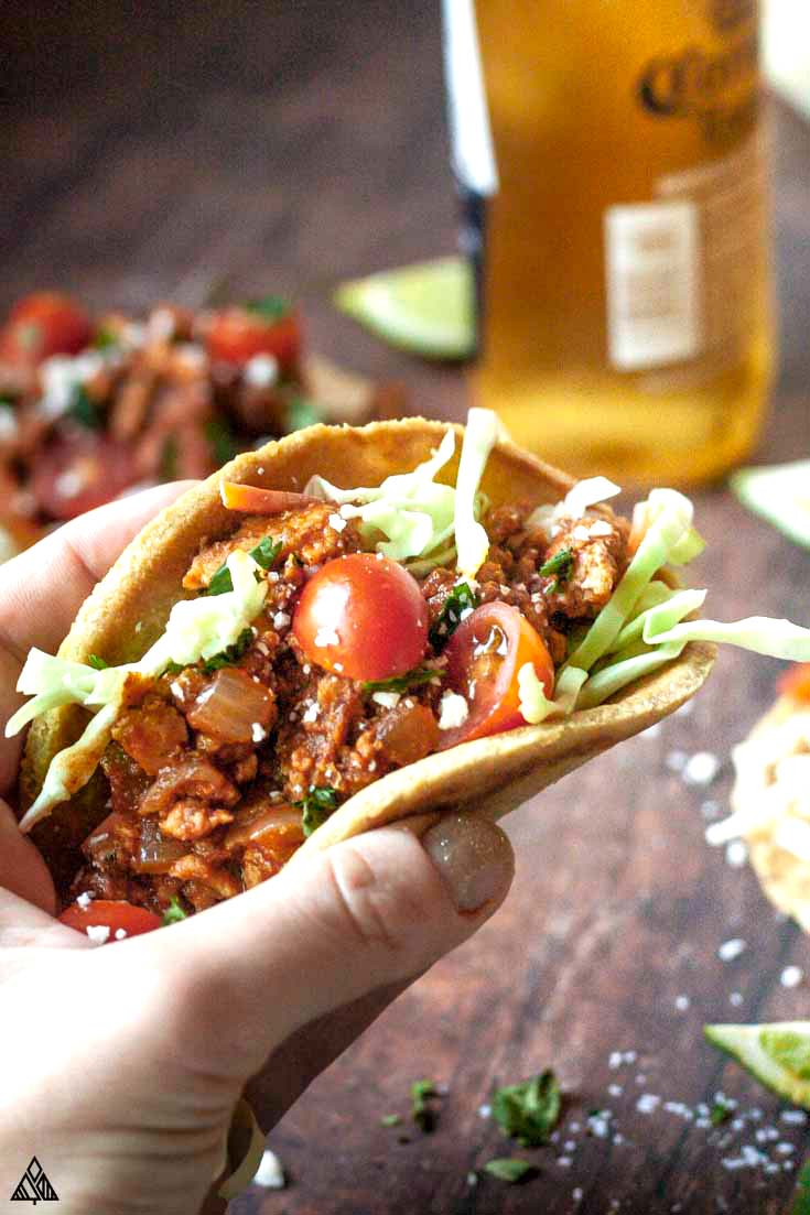ground chicken taco with beer