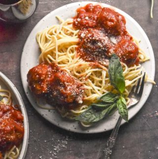 top view of Italian Sausage Meatballs on a plate