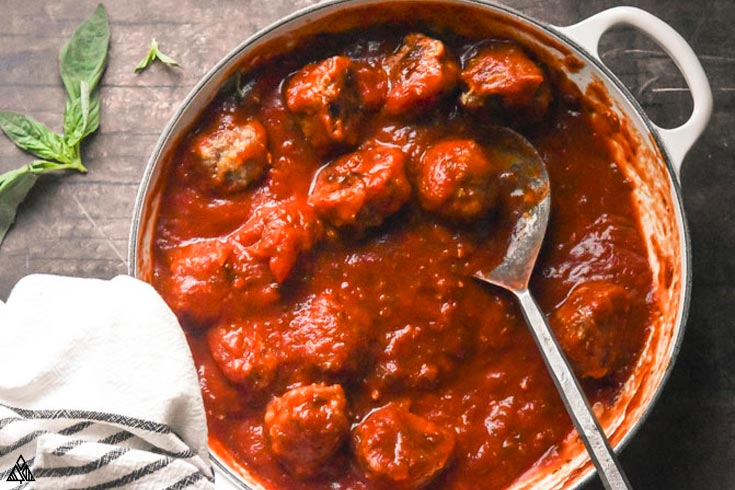 top view of Italian Sausage Meatballs in a pan