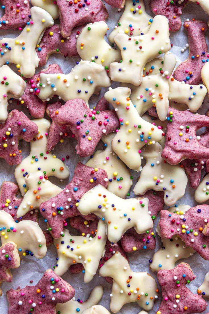 Low carb animal cookies laid on a parchment paper