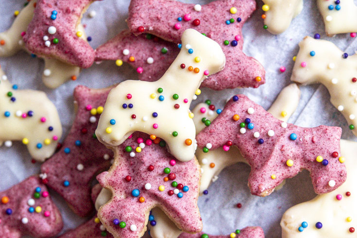 Closer look of low carb animal cookies