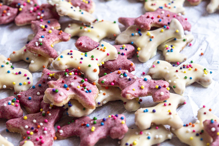 Closer look of low carn animal cookies laid on a parchment paper