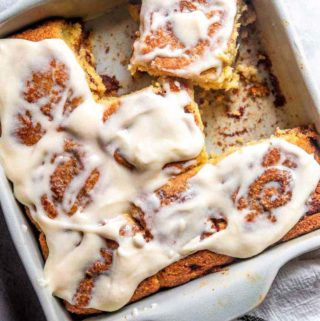freshly baked pan of low carb cinnamon rolls