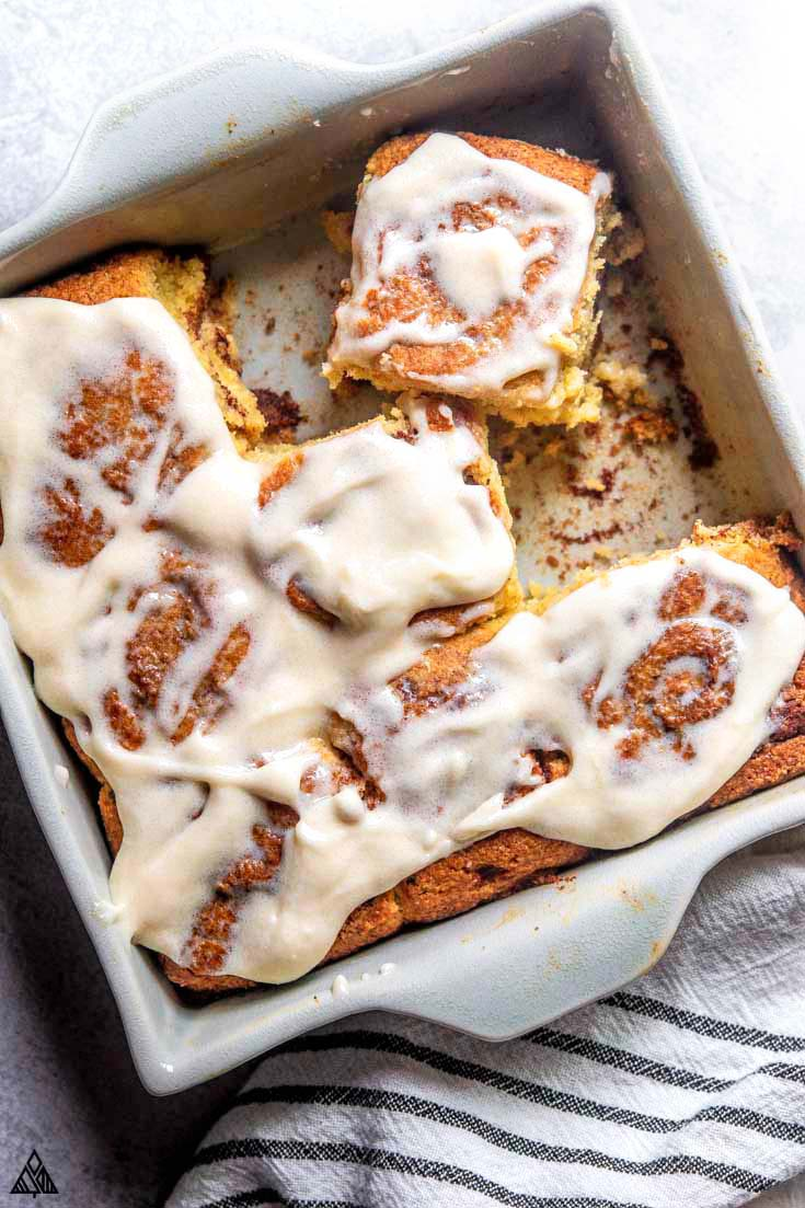 freshly baked pan of low carb cinnamon rolls
