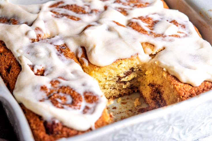 Closer look of low carb cinnamon rolls