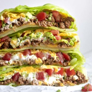 Stack of low carb crunchwrap supreme