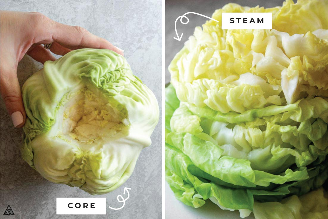 Preparing the cabbage for low carb crunchwrap supreme