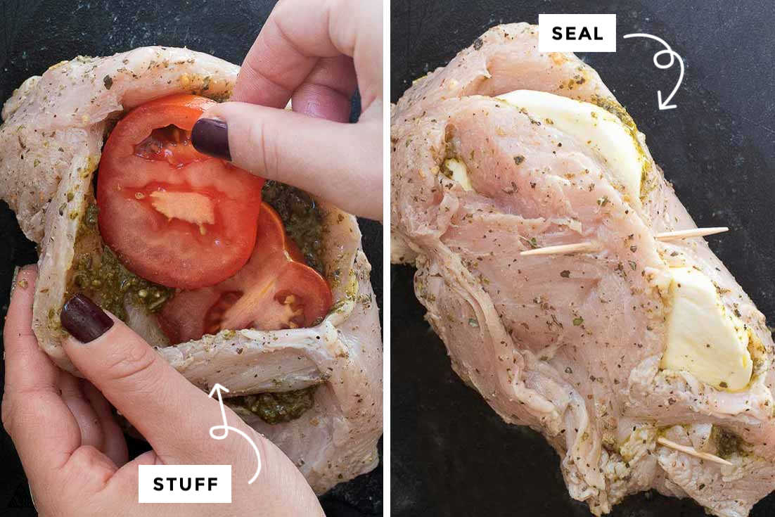 Stuffing the pocket of a chicken cut