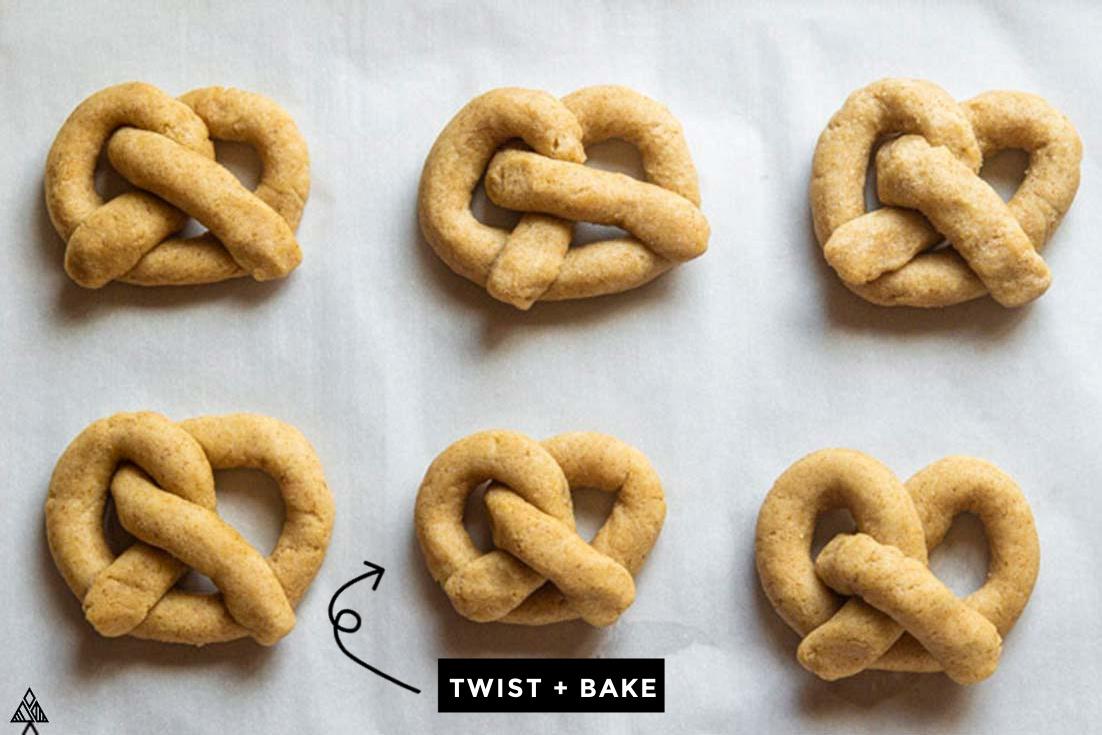 Low carb pretzels on a parchment paper