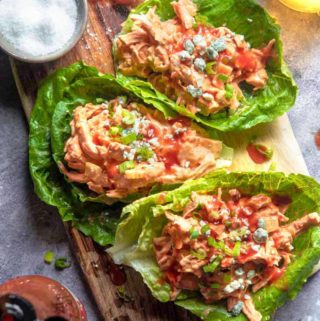 buffalo chicken salad wrapped in lettuce overheat with frank's red hot sauce