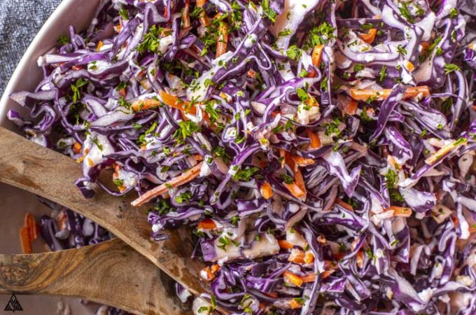 Top view of jalapeno coleslaw