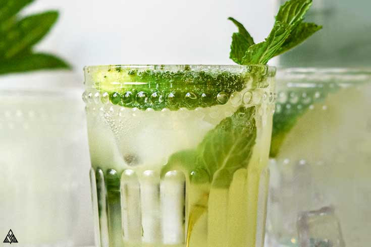Closer look of keto mojito in a glass