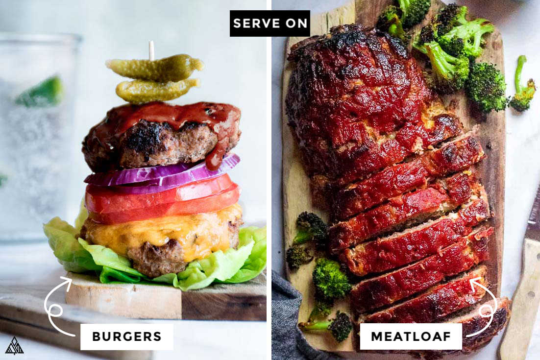Collage of burger and meatloaf with low carb bbq sauce