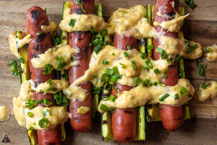 Closer look of low carb cheese dogs from the top