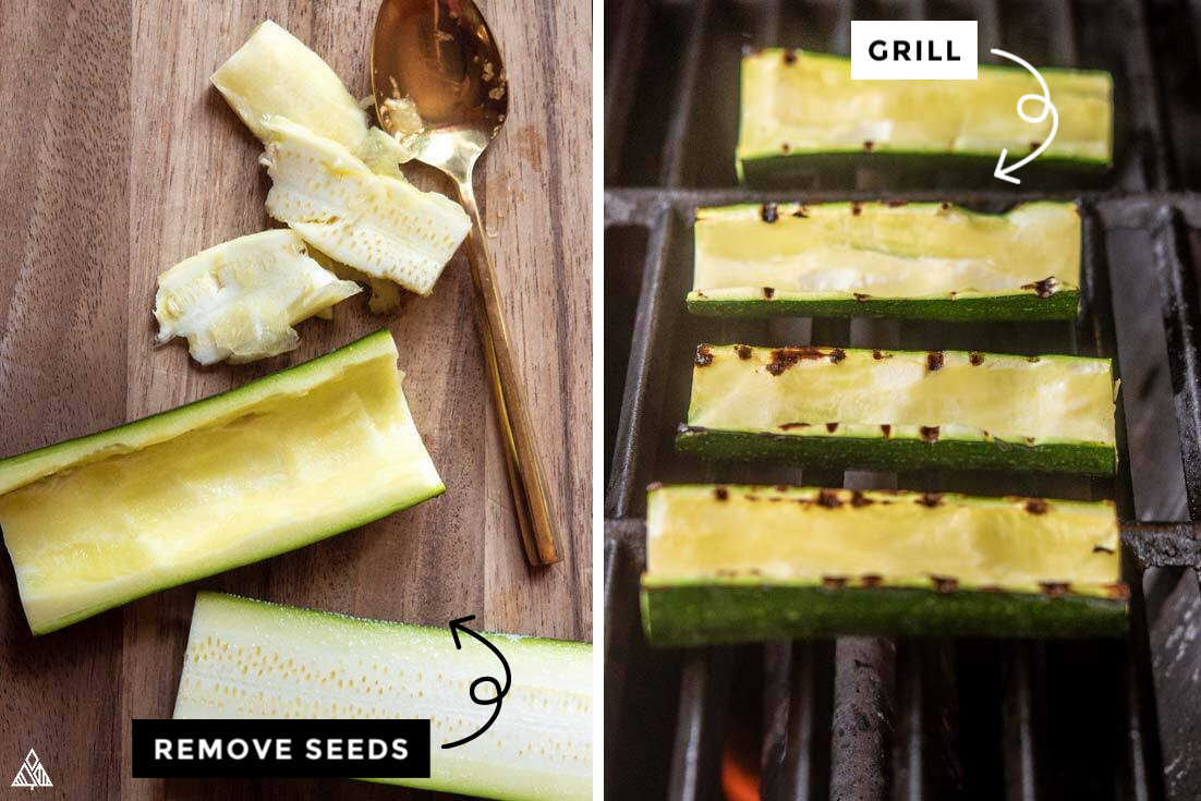 Collage of how to prepare the zucchinis