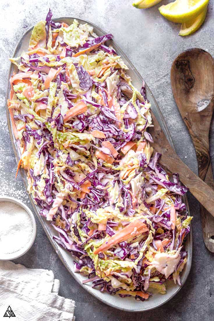 overhead of a platter of low carb coleslaw