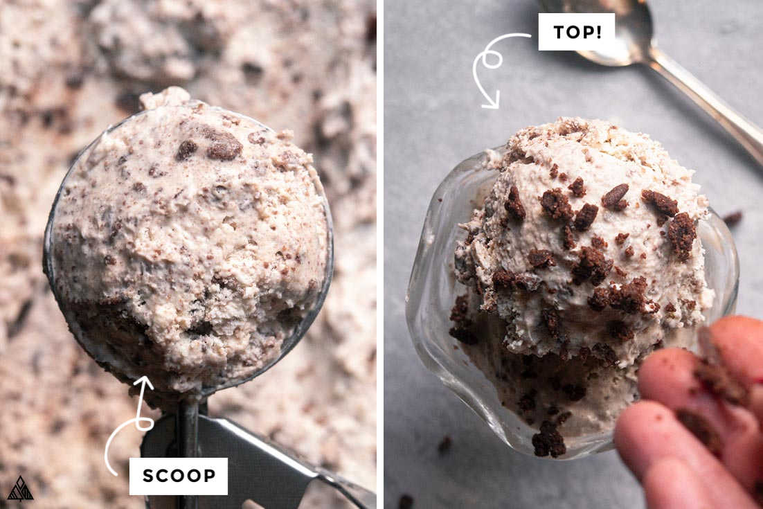 Collage of how to prepare low carb cookies n' cream ice cream