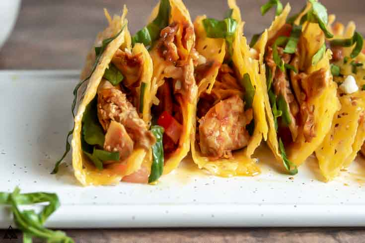 low carb crispy chicken tacos on a platter