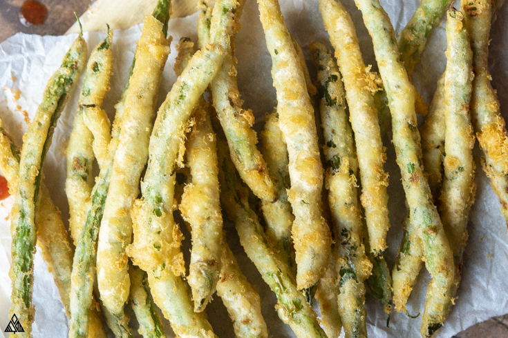 Top view of low carb fried green beans