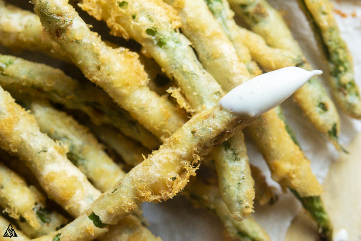 Closer look of low carb fried green beans