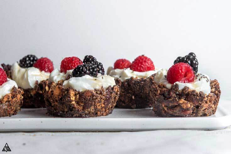 Side view of low carb granola cups