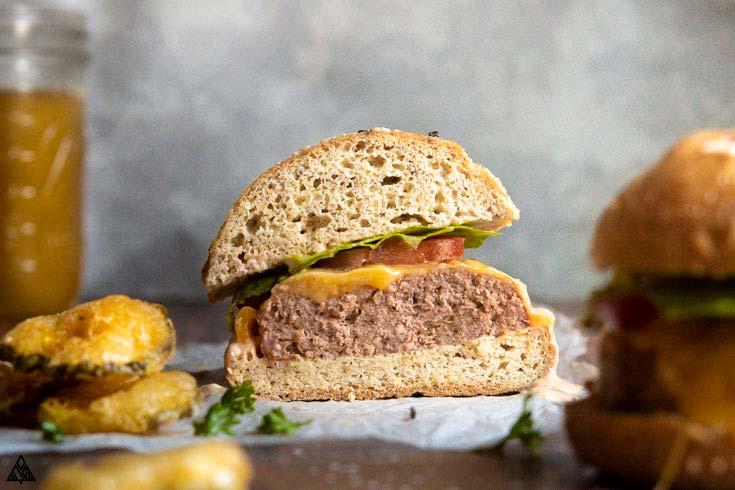 Super fluffy low carb hamburger buns cut in half